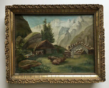 ANTIQUE MINIATURE OIL PAINTING UNSIGNED PASTORAL MOUNTAIN LANDSCAPE WITH COWS