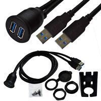 2m 6.5ft Useful USB 3.0 A Female to Male Plug Car Dashboard Flush Mount Cable