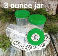 6 Plastic Jar Bottle GREEN Cap Screw Top 3 ounce Snack Mix Jars 5314 DecoJars