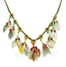 Elegant Colorful Adjustable Silk Knots Braided Jade Leaf Dangle Beaded Necklace