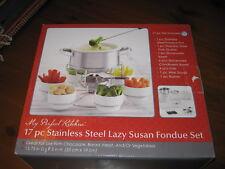 Stainless Steel Lazy Susan Fondue Pot