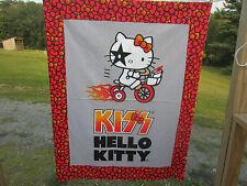 Hello Kitty David Textiles Cotton Quilt Fabric Panel Kiss Fire Rock Music Sanrio