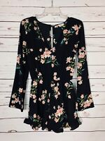 Pins & Needles Urban Outfitters Women's S Small Black Floral Spring Short Romper