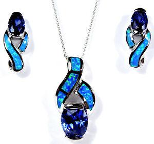 Tanzanite & Blue Fire Opal 925 Sterling Silver Necklace & Earrings Set 18''