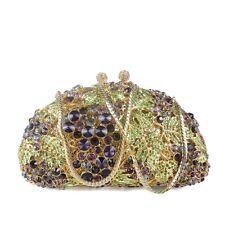 Korea Lady Gold Chain Rhinestone Diamond Unique Design Luxury Crystal Clutch Bag