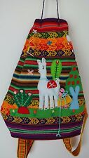 Turkish Women Hand Knitted Woven Multicolour Backpack With Animal Figures -