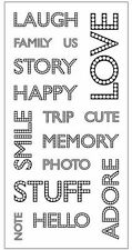 Teresa Collins Clear Stamps - Journaling Words Family, Love, Smile, Memory, Trip