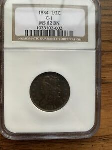 1834 Classic Half Cent C-1 MS 62 BN