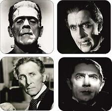 Classic Movie Horror Icons Wooden Black & White Coaster Set