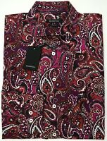 NWT $179 Bugatchi Paisley LS Shirt Shaped Fit Mens XL XXL Shaped Fit Red Black