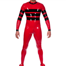 100% Latex Rot&Black Catsuit Rubber Full Cover Tights Overall 0.4mm Zip S-Xxl
