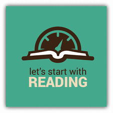 """Book Speedometer Let's Start With Reading Car Bumper Sticker Decal 5"""" x 5"""""""