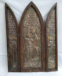 Antica Icona trittico legno Madonna Bambino stemma Chiavi Incrociate Vaticano