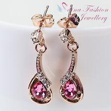 18k Rose Gold Plated Swarovski Crystal Delicate Double Teardrop Pink Earrings