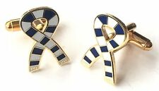 Blue & White Scarf Crested Sports Cufflinks (N178) Gift Boxed
