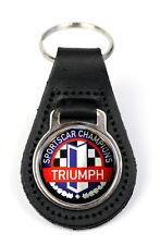 Triumph Sportscar Champs Logo Quality Black Leather Keyring