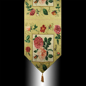 VINTAGE FRENCH COUNTRY ROSE TAPESTRY TASSEL WEDDING PARTY BED TABLE RUNNER CLOTH