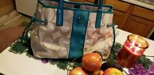 Coach handbags used large pre-owned teal Green and Cream colored
