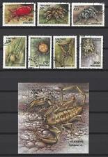 Insectes Tanzanie série complète et bloc correspondant oblitérés (4)