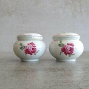2 Vintage Thomas Mouson Small Trinket Bowls with Lids Pink Roses West Germany