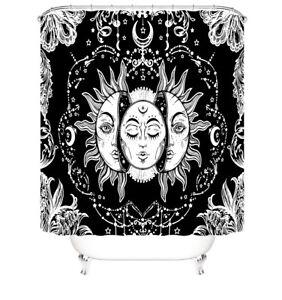 Sun-God Bathroom Rug Set Shower Curtain Thick Non-Slip Toilet Lid Cover Bath Mat