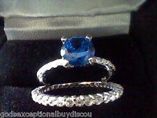 WOMENS ROUND SAPPHIRE & LCS DIAMOND WEDDING BAND RING SET SZ 6 SZ 7 SZ  8