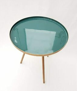 Capital Homeware Coffee/Bedside Table Tray Side with Teal Gold 51cm H x 39cm W