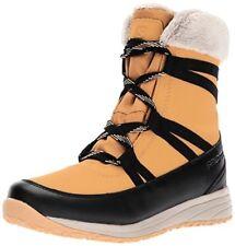 Salomon Womens Heika Ltr CS WP Snow Boot, Camel Gold Leather/Black/Vintage Kaki,