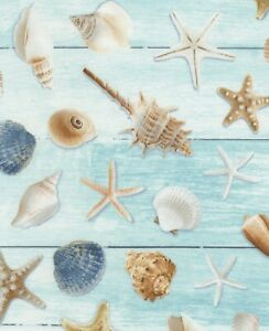 Nautical Fabric - Seashells Starfish Blue Wood Texture - Timeless Treasures YARD