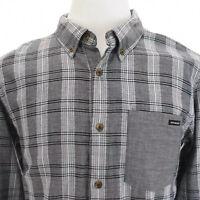 Oakley Button Down Front Mens Shirt Long Sleeve Pocket Plaid Gray Sz Medium