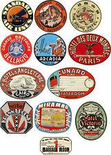Estilo Vintage Maleta De Viaje Equipaje etiquetas Set de 12 de pegatinas de vinilo
