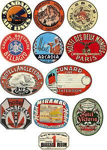 Style Vintage Valise Bagage Voyage étiquettes Lot De 12 autocollants vinyle