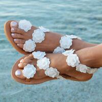 Women Flower Clip Toe Flat Sandals Lady Summer Beach Boho Flip Flops Casual Shoe