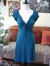 VELVET by Graham & Spencer sz S Blue Cotton Jersey Ruffle Accent Dress