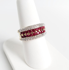 18K Yellow Gold Ruby and Diamond Ring Size 7