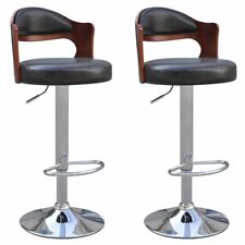 vidaXL 2x Black Leather Bar Stool Chair Padded Seat Back Gas Lift Dining Cafe