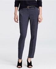 Ann Taylor Petites 12P Blue Straight Fit Devin Geo Jacquard Ankle Pants $89 (D34