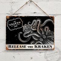 RELEASE THE KRAKEN RUM Landscape Metal Wall sign Retro Pub Bar Mancave Tattoo