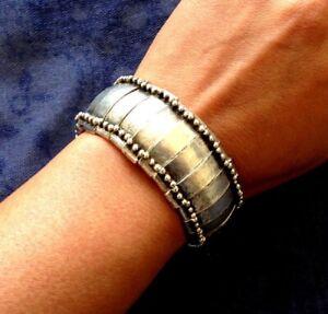 Zamac Stretch Cuff Tribal Silver Bracelet, Ethnic Gypsy Boho Beach Non allergy
