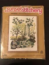 """Sunset Stitchery Waterfall-#2468 Crewel Stitch-16"""" x 20"""""""