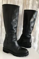 VINCE Black Leather Inner Hidden Wedge Heeled 'Flat' Boots 7 37.5 ITALY * RARE!