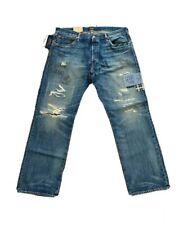 Polo Ralph Lauren The Classic Fit Distressed Patch Jeans Blue NWT Men SZ 38 x 30