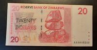 Harare, 2007 - Reserve Bank Of Zimbabwe -20 Dollars Banknote - AA-Prefix - fine