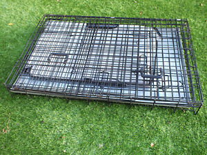 Med / Large fold flat dog cage  + cover - travel / camping / bed / crate