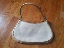 Womens Beige Canvas Genuine Tan Leather Trim Tote Handbag