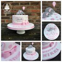 Edible BABY ELEPHANT BALLOON  DOTS PLAQUE BOW Shower Christening Cake Topper