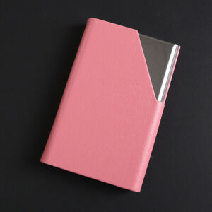 Pocket Stainless Steel leather Business Card Holder Case ID Credit Wallet