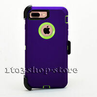 iPhone 7 Plus iPhone 8 Plus Defender Case w/Holster Belt Clip Purple Lime Green