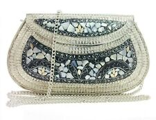 silver shell nacre stone bag ethnic clutch indian antique purse mosaic bag metal