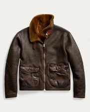 $2900 RRL Double RL Ralph Lauren Leather-Trim Shearling Jacket - BNWT - Small